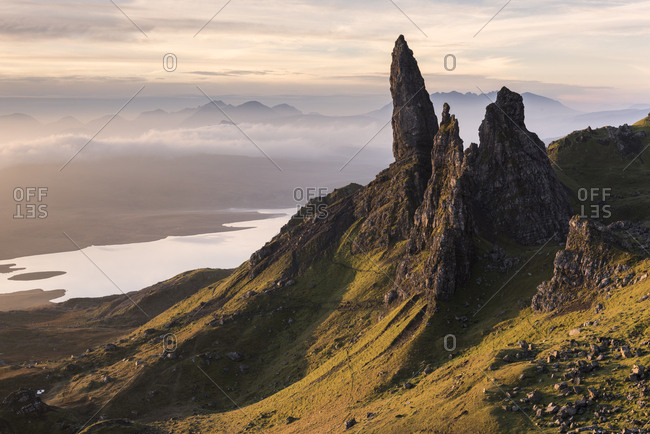 The Old Man of Storr, situated on the Trotternish peninsula of the Isle of Skye, Scotland, UK. Early morning light. November