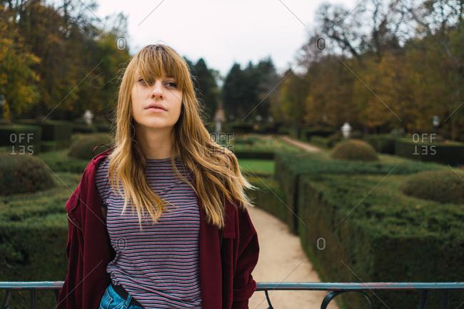 Romantic model in green park