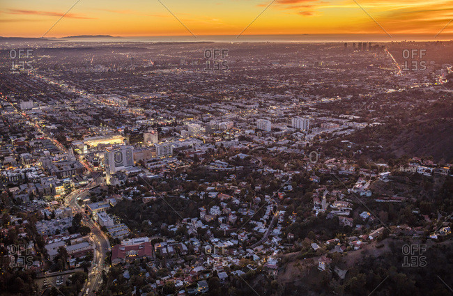 Los Angeles, California, USA - December 7, 2015: Aerial View of Hollywood and West LA at Sunset