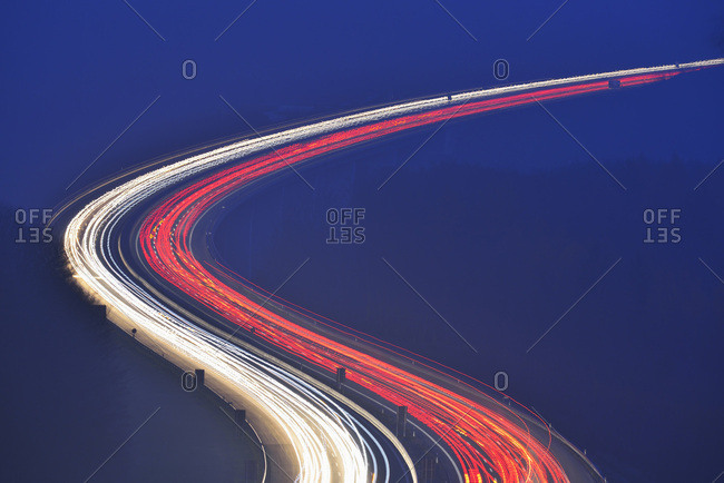 Light Trails on Highway A3 at Night, Haseltal, Rohrbrunn, Spessart, Bavaria, Germany