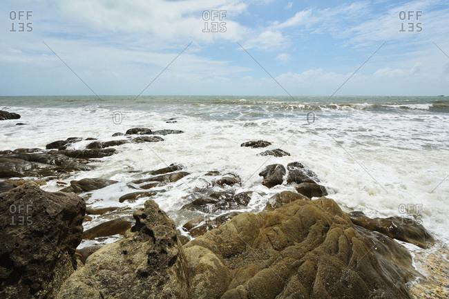 Stone Beach with Rough Sea, Captain Cook Highway, Queensland, Australia