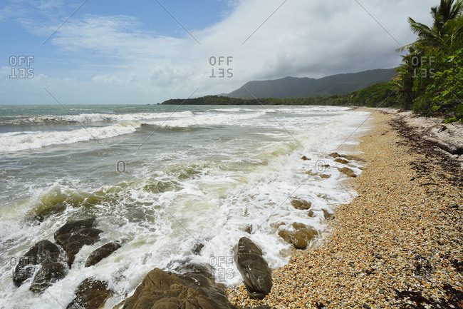Pebble Beach with Rough Sea, Captain Cook Highway, Queensland, Australia