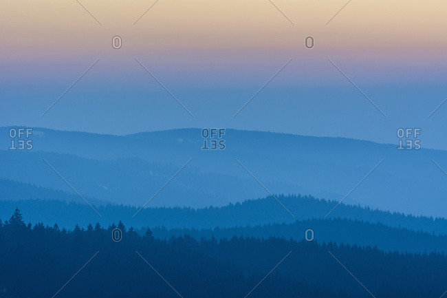 Low Mountain Landscape with Horizon Lines at Dusk, Altenau, Harz, Lower Saxony, Germany