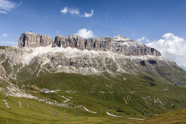 Scenic view of the Sella Group from the famous path, Viel dal Pan, Dolomites, Trentino Alto Adige, Italy