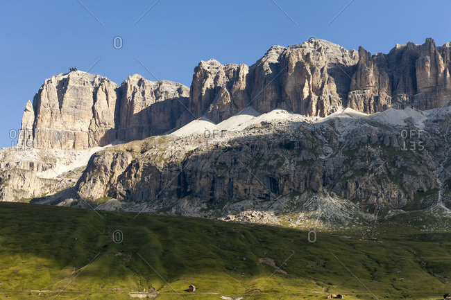 Scenic view of mountains and foothills, Sella Group from the famous path, Viel dal Pan, Dolomites, Trentino Alto Adige, Italy