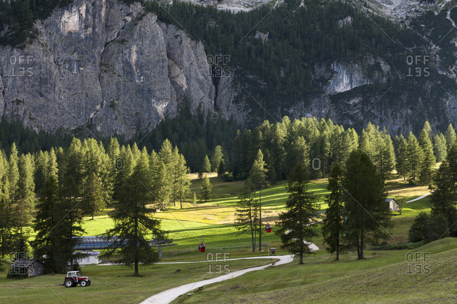Typical landscape of the Dolomites with green meadows at the foot of big rocky walls, Val Gardena, Trentino Alto Adige, Italy