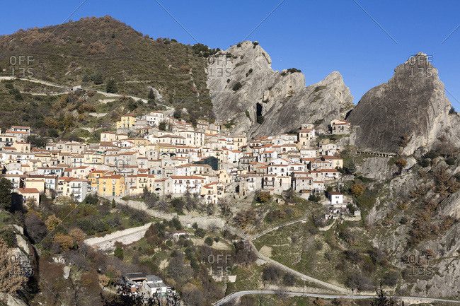 Scenic overview of Castelmezzano, (famous for the Flight of the Angel zipwire ride over the valley), Basilicata, Italy