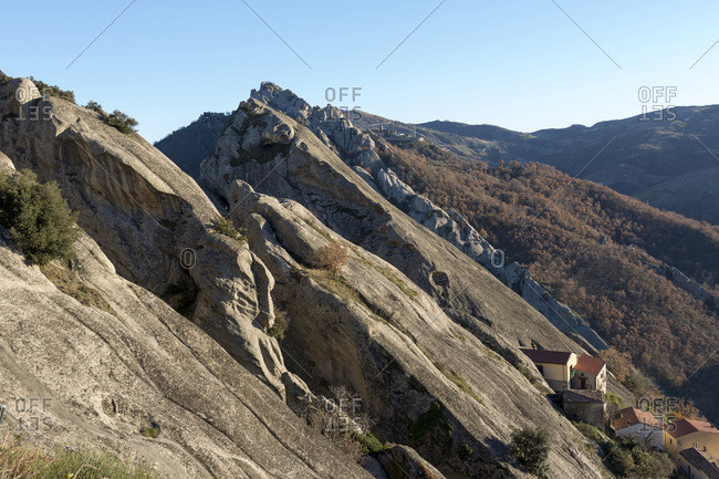 Scenic view of the smooth, sandstone rocks of the mountain village of Castelmezzano, Lucanian Dolomites, Basilicata, Italy