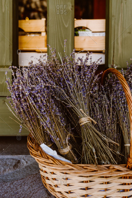 Basket filled with dried lavender brunches