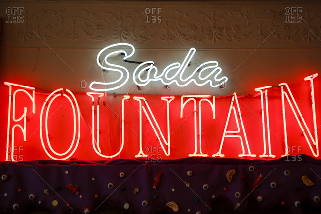 Vintage neon sign advertising a soda fountain in Southern California