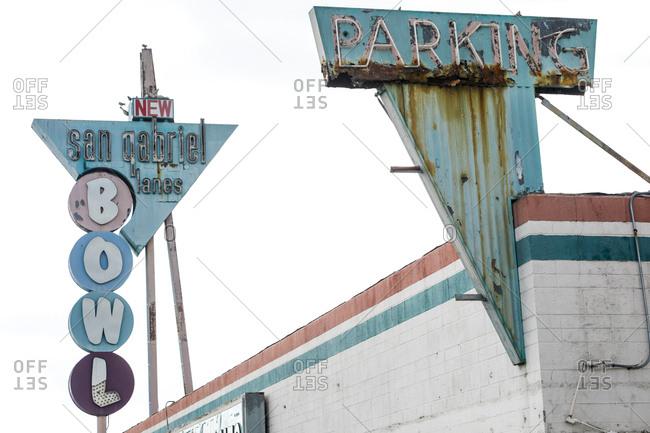 San Gabriel, California, USA - October 20, 2017: Building with vintage sign advertising San Gabriel Lanes bowling alley