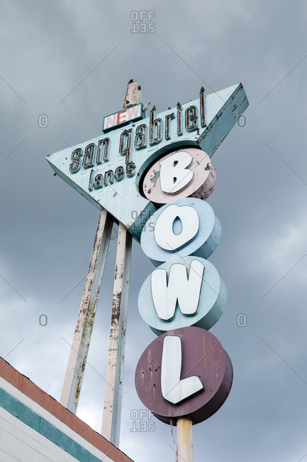 San Gabriel, California, USA - October 20, 2017: Vintage sign advertising San Gabriel Lanes bowling alley