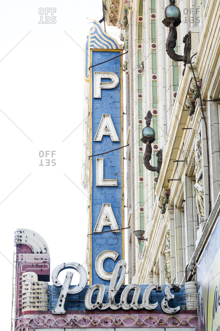 Los Angeles, California, USA - October 20, 2017: Vintage sign advertising The Palace Theater