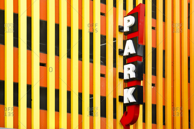 Sign advertising a parking garage in Los Angeles