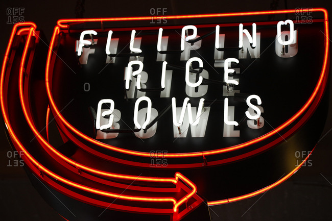 Neon sign advertising a Filipino restaurant in Los Angeles