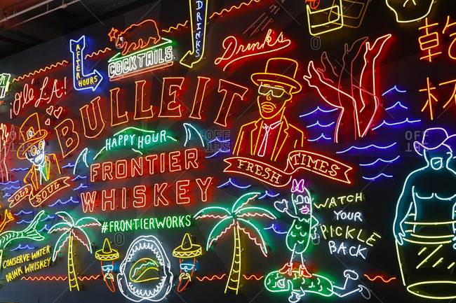 Los Angeles, California, USA - October 20, 2017: Neon sign advertising Bulleit whiskey at Grand Central Market