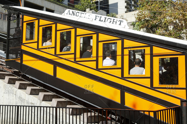 Los Angeles, California, USA - October 20, 2017: Angels Flight funicular cable car