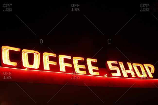 Burbank, California, USA - October 21, 2017: Vintage neon sign advertising a coffee shop