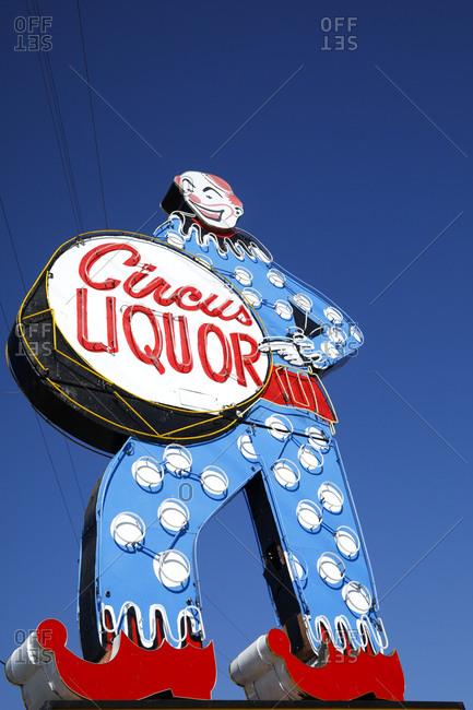 Burbank, California, USA - October 21, 2017: Vintage sign advertising Circus Liquor
