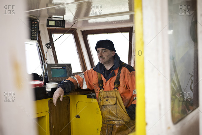Oyster fisherman on a boat in Scotland