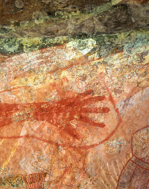 Darwin, Australia - October 13, 2017: Ubirr cave art at the Kakadu National Park
