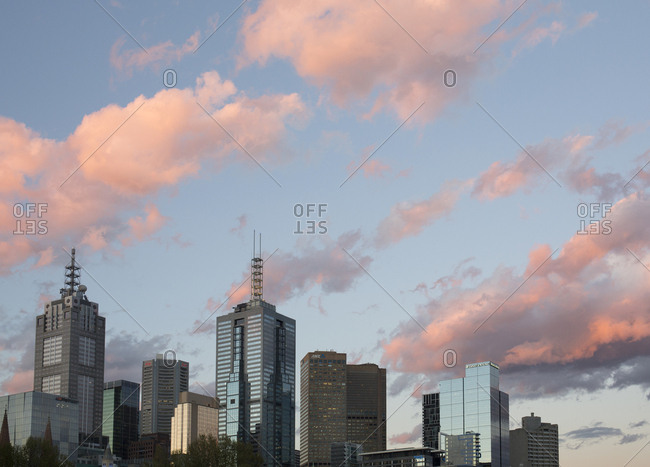Melbourne, Australia - September 27, 2017: Melbourne skyline at dusk