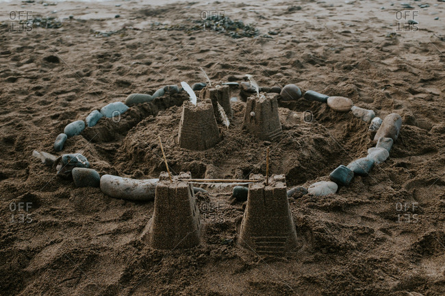 Sandcastle on a sandy beach