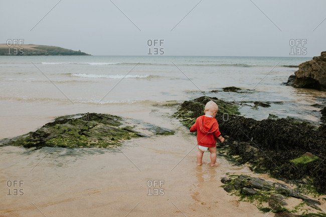 Rear view of baby boy standing in ocean tide