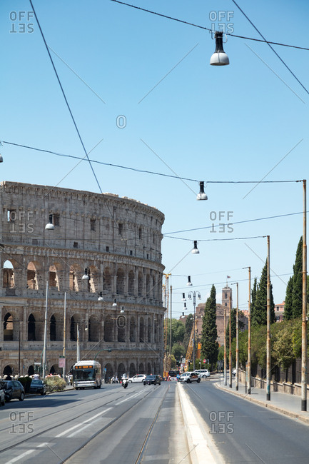 Rome, Italy - July 10, 2017: The Coliseum and street traffic