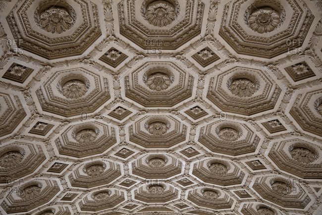 Rome, Italy - July 10, 2017: Details of a Baroque ceiling