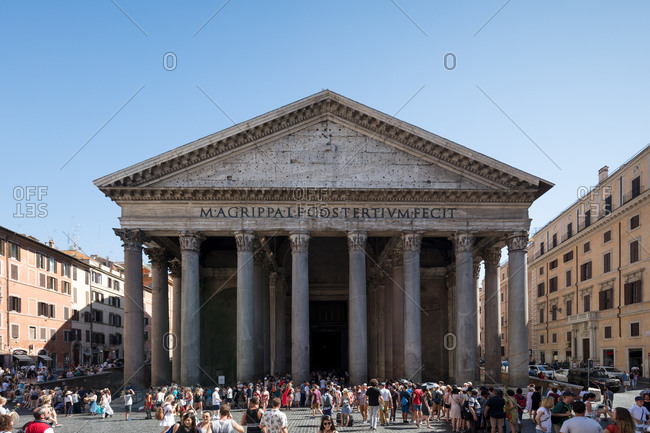 Rome, Italy - July 10, 2017: Crowds outside the Pantheon