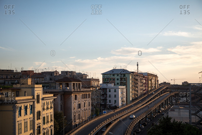 Rome, Italy - July 11, 2017: An overpass and city buildings