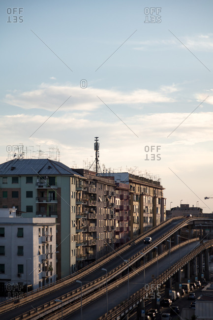 An overpass and city buildings, Rome, Italy