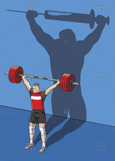 Weightlifter shadowing a syringe barbell