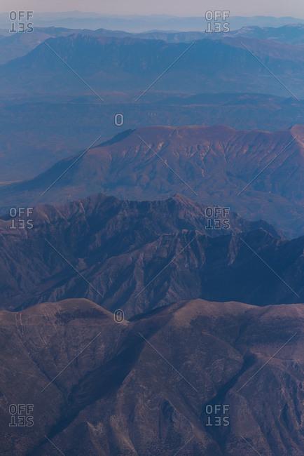 Aerial view of mountain range.