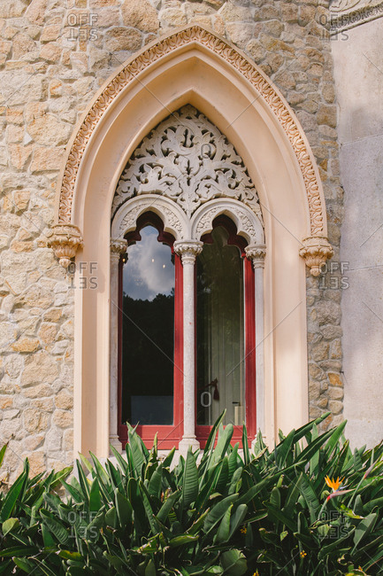 Sintra, Portugal - September 27, 2014: Window at the Palace of Monserrate