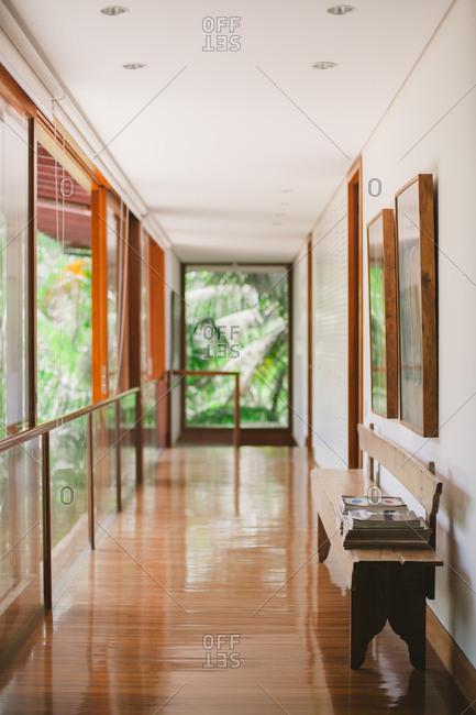 Itacare, Brazil - November 1, 2014: Empty hallway and bench at wedding venue