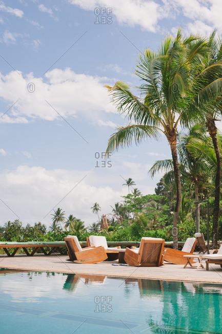 Itacare, Brazil - November 1, 2014: Swimming pool at tropical beach wedding venue
