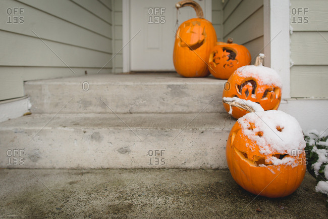 Pumpkins on a porch covered in snow