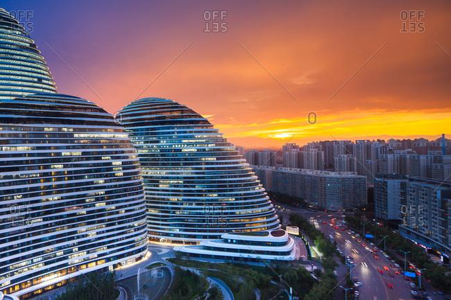 Beijing, China - April 11, 2016: Beijing Wangjing Soho building