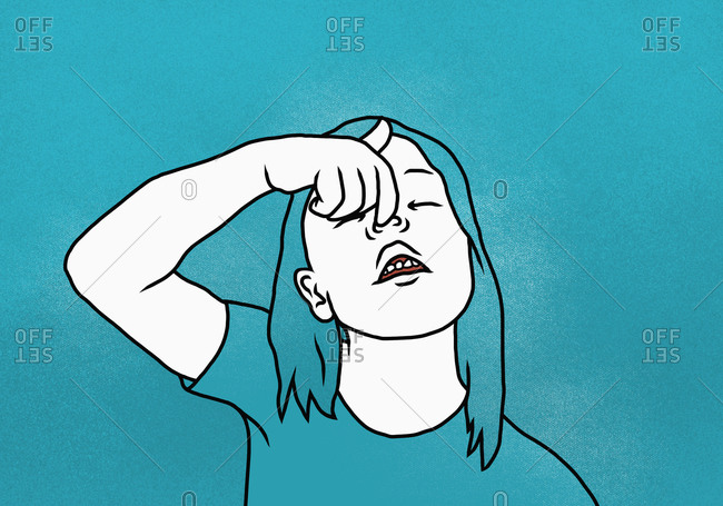 Illustration of girl pulling nose against blue background