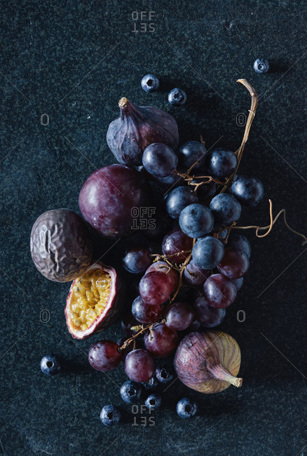 High angle view of fresh fruits on granite