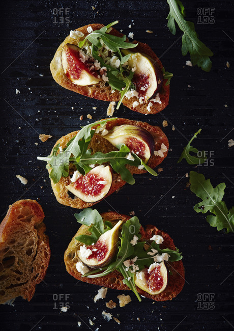 Directly above shot of healthy open faced sandwich