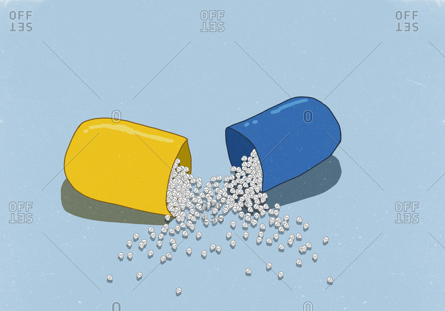 Illustrative image of skulls in open capsule on blue background