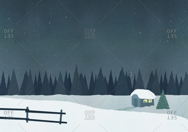Illustration of hut on snow field against sky at night