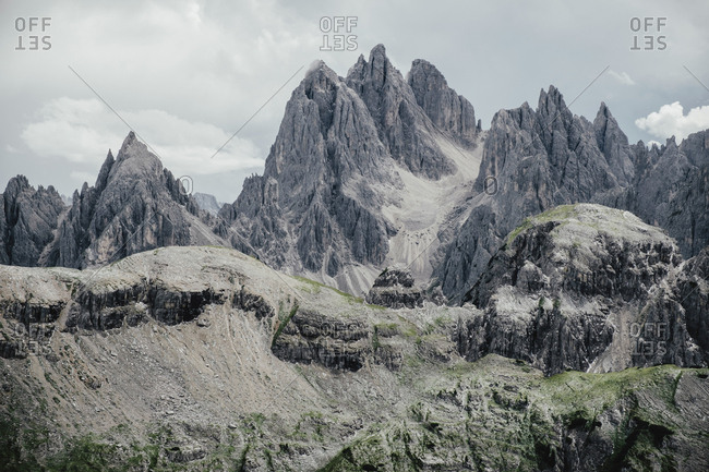 Scenic view of rocky mountains against sky, South Tyrol, Italy