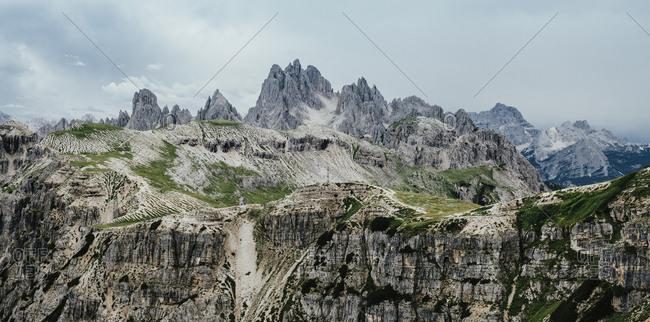 Idyllic shot of rocky landscape against sky, South Tyrol, Italy