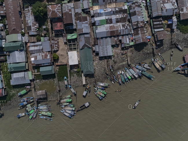 Aerial view of boats moored by harbor, Bogale, Myanmar