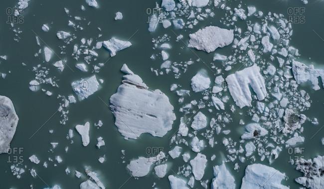 Drone view of ice in lagoon, Lake George, Palmer, Alaska