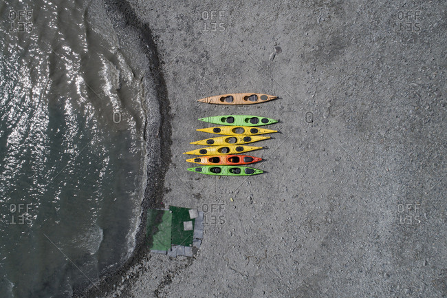Drone view of colorful canoes at beach, Anchorage, Alaska, USA